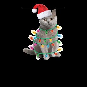 Meowy Christmas Katze Weihnachten Weihnachtsmütze
