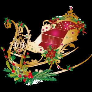 Pferdeschlitten weihnachtlich geschmückt