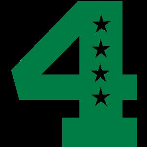 vierter 4. Geburtstag 4 vier einfarbig