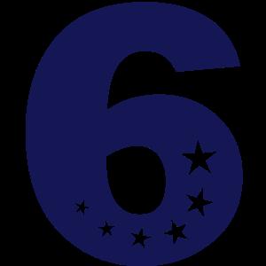 sechster 6. Geburtstag 6 sechs einfarbig