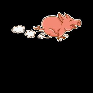 Rennendes Schwein Schweinchen Laufen Süß Geschenk
