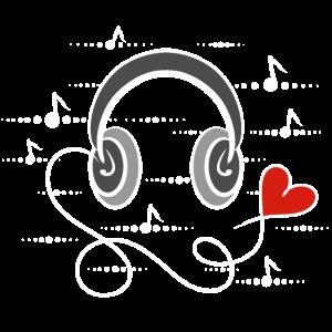 I love music, Kopfhörer mit Herz - Ich liebe Musik