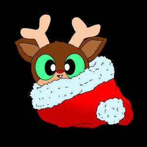 Süßes Rentier in roter Weihnachtsmütze mit Bommel