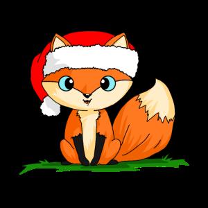 süßer kleiner Fuchs mit Weihnachtmann Mütze Tshirt