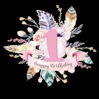 1. Geburtstag - Blumen und Federn