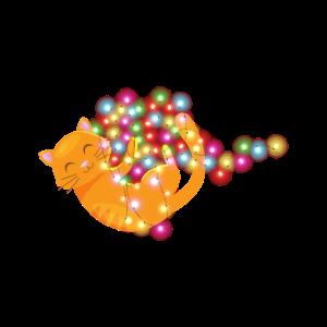 Süße Katze Lichterkette Fellnase Weihnachten