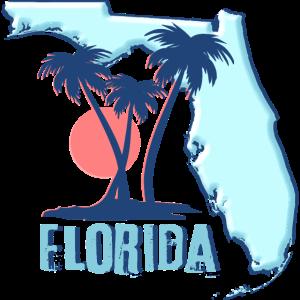 Florida Karte Umriss USA Amerika Staaten Palmen