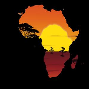 Umriss Afrika Sonnenuntergang in der Savanne