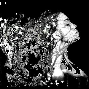 Frau Bäume Blätter Explosion Doppelbelichtung
