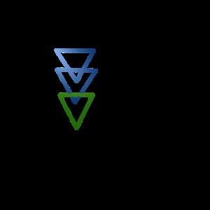 3 Dreiecke in Blau und Grün nach unten