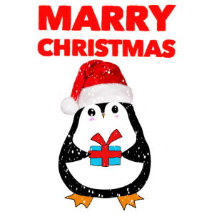 marry christmas Pinguin with gift