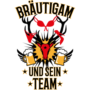 153 Bräutigam Team Hirsch Geweih Bier JGA