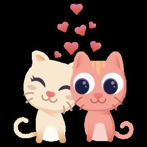 Verliebte Katzen mit Herzen Geschenk für Verliebte