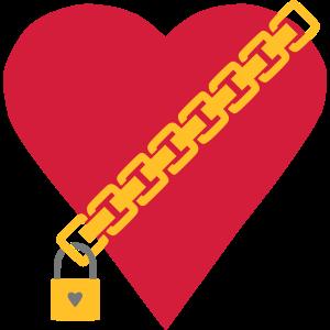 Herz mit Kette und Vorhängeschloss