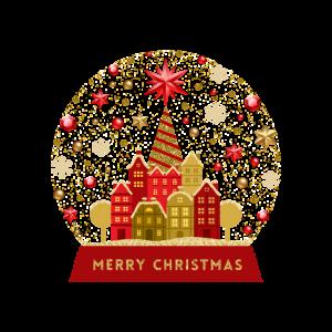 Frohe Weihnachten-Schneekugel-Nordpolstadt