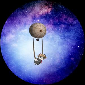 Panda schwebt im Weltall auf Heissluftballon