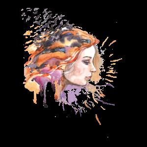Damen Gesicht Aquarell Fashion Illustration