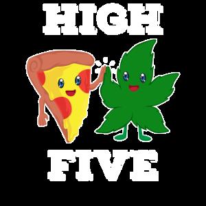 Pizza und Cannabisblatt geben sich High Five