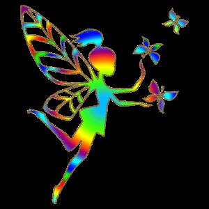 Regenbogen Elfe, Fee, Schmetterlinge, Magie, DD
