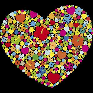 Herzen Blumen Blüten Peace-Zeichen Yin und Yang