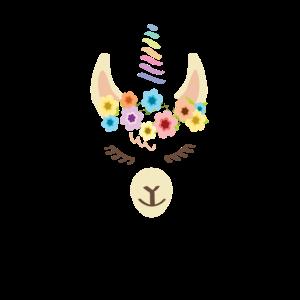 Lama Unicorn mit Blumenkranz - Geschenk