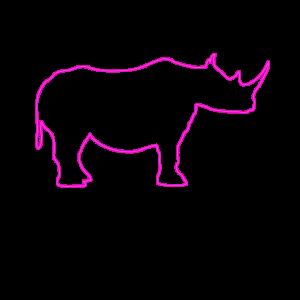 Neon Rhino Nashorn Lampe 80er Jahre