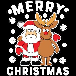 Santa und Rentier wünschen Frohe Weihnachten