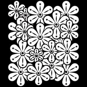 Muster Blumen Schwarz Weiss
