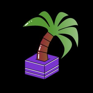Palme aus lilaner Box
