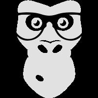 Nerd Ape with glasses