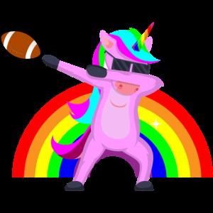 Dabbing Unicorn American Football Regenbogen Cool
