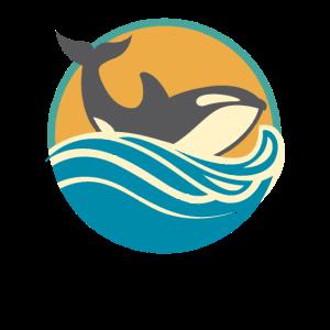 Retro beunruhigter Killerwal-Entwurf für Schwertwal