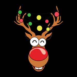 Weihnachten Rentier mit Lichterkette im Geweih