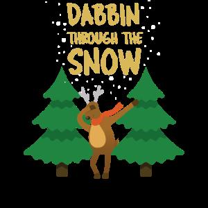 Rentier Ren Weihnachten Dabbin Schnee Dab Dabbing
