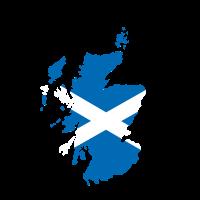Karte von Schottland mit schottischer Flagge