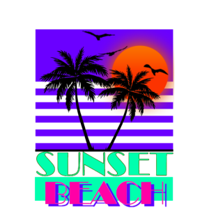 Sunset Beach 80s Purple