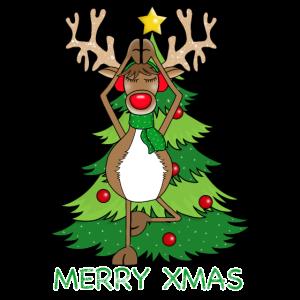 Merry XMAS Rentier Yoga Weihnachten Poster