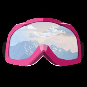 Skibrille Pink mit Spiegelung Ski Schnee Berge