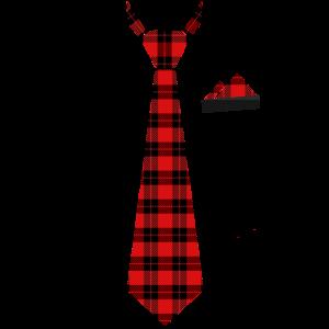 Krawatte Stecktuch in Karomuster rot Holzfäller