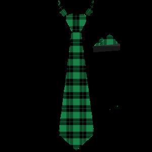 Krawatte Stecktuch in Karomuster grünt Holzfäller