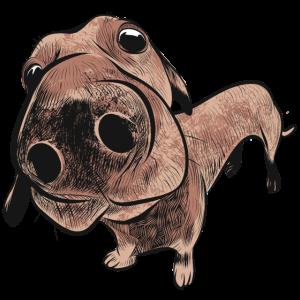 Dackel Jagdhund lustiger Hund Humor Hundekopf Witz