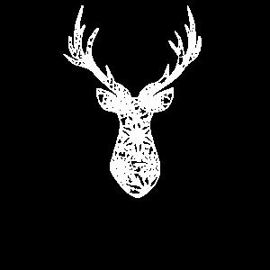 Hirsch Kopf Silhouette Schneeflocken