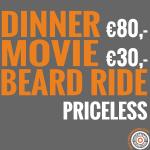 Dinner, movie, beardride priceless
