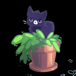 Katze in einem Blumentopf.