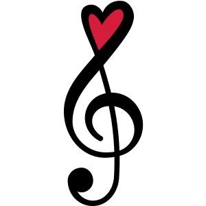 Notenschlüssel Herz rot Musik