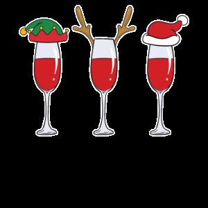 Weihnachten-Wein | Weinglas-Prost | Geweih-Mütze