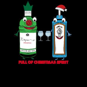 Voll von Weihnachtsgeist - Gin jubelt einer fröhlichen Party zu