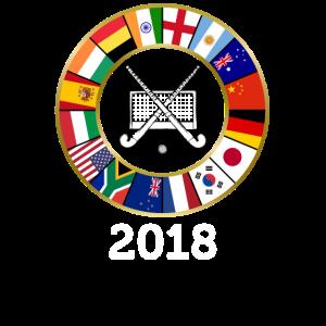 Feldhockey-Landesflaggen 2018 mit Hockey