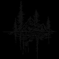 Berge mit Wasser und Tannen Wald