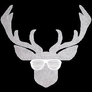 Brille mit Hirsch in silber und weiß zur Tracht